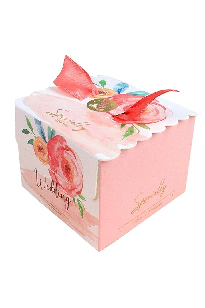センター磁気利益Lumierechat 結婚式 プチギフト ギフトボックス DIY ボックス 箱 のみ 包装 お菓子 紙箱 リボン付き 100個 a-b4524 (100個/ピンクフラワー)