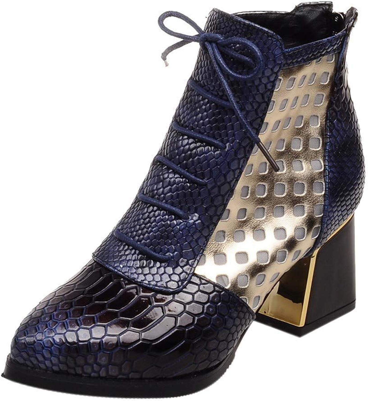 SUNny Store Kvinnor Denis Ankle Flat stövlar Zipper Winter Warm Warm Warm Snow Round Toe Tjock Skor (blå -8 M USA)  i stadionens kampanjer