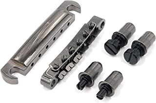FarBoat 1 Set Guitar Bridge Tune-o-Matic with Roller Saddles Studs 6 String for LP Electric Gutiar Replacement(Black)