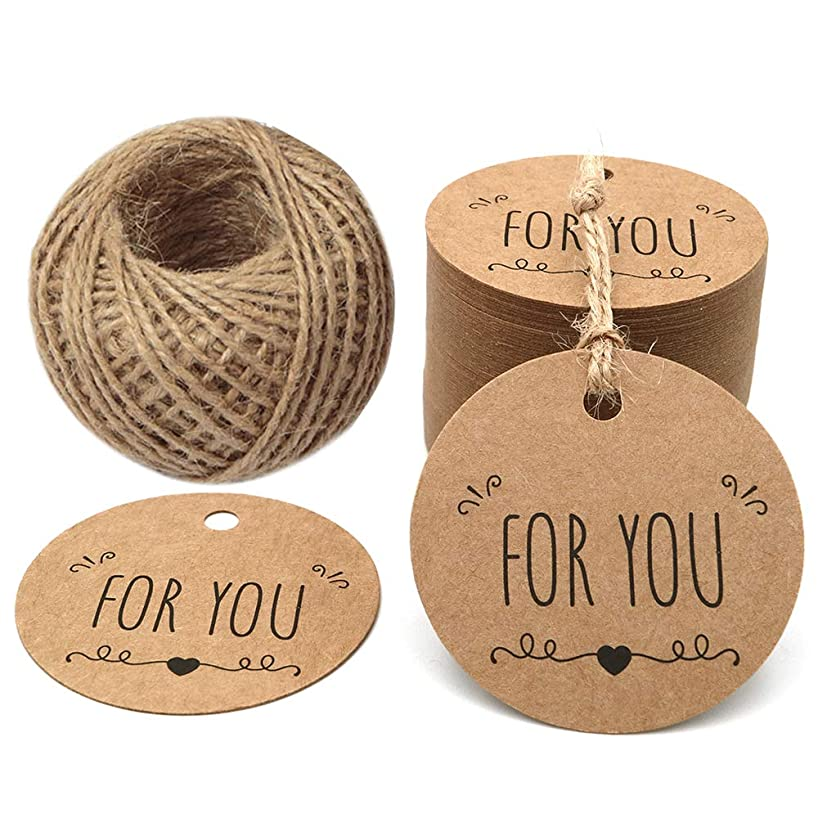 Father's Day Tags,100PCS Original Design for You Tag Kraft Paper Gift Tag,Price Tag with 100 Feet String for Craft Projects and Wedding Party Favors