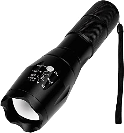 Kurtzy Professional LED Zoomable Flashlight Torch With Aluminium Body Rechargeable Battery