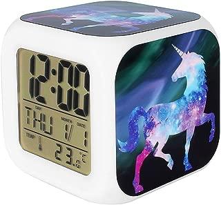 Bonamana Unicorn Alarm Clock Light Nightlight Accessories-Time, Temperature, Alarm, Date, for Teenager Adults (H)