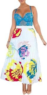 Women's Fashion Pleated Skirts Printing Elastic Waist A Line Midi Skirt
