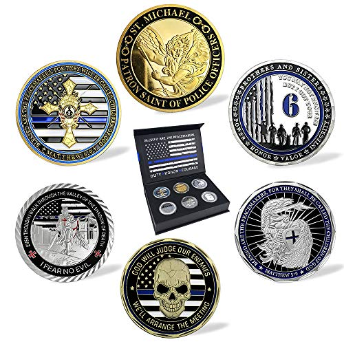 BHealthLife United States Police Department Law Enforcement Officers Challenge Coin Gift Box with 6 Police Coins