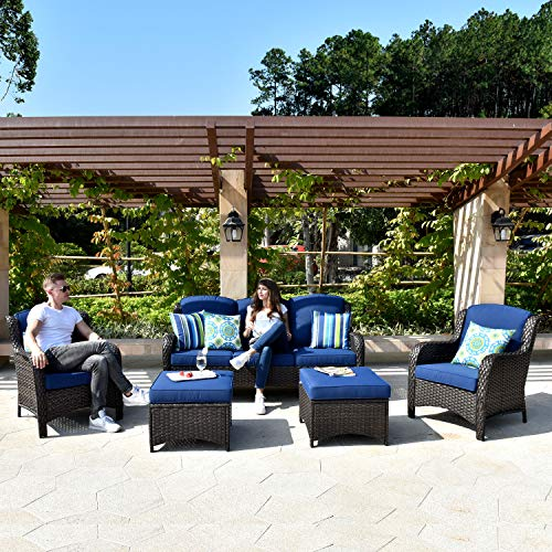 XIZZI Patio Furniture Sets, Outdoor Furniture,All Weather Wicker Patio Set with High Back Sofa(5PCS, Navy Blue)