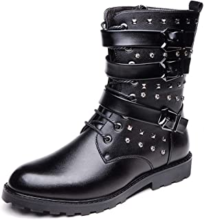 Xujw-shoes store, 2019 Mens New Lace-up Flats Mens Mid Calf Boots for Men Snow Boots Round Toe Side Zipper Synthetic Leather Casual Warm Plush Rivets Triple Buckle Straps Comfortable Breathable Black