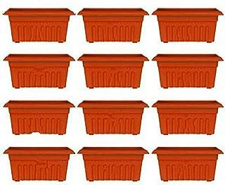 Spylark Premium 3 Rectangle Planters - Plastic Pots(18 inch)(Pack of 12)