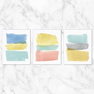 Pastel Abstract Wall Art - Set of 3-8x10 Prints on Linen Paper - Unframed