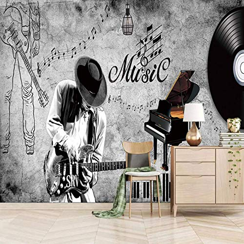 TDYNJJ Wandbild Fototapete 3D Effekt - Musik Schallplatten Gitarren Sänger - Vlies Tapeten Wandtapete Moderne Wanddeko Design Wand Dekoration Wohnzimmer Schlafzimmer Büro Dekoration