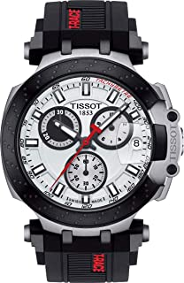 Men's T-Race Chrono Quartz 316L Stainless Steel case with Black PVD Coating Swiss Silicone Strap, 22 Casual Watch (Model: T1154172701100)