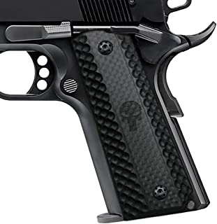 EXEL 1911 Full Size Carbon Fiber Grips, Free Screws included, Punisher Skull Texture,Ambi Safety Cut, Black, Cool Hand Brand