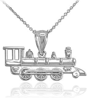 Sterling Silver Locomotive Steam Engine Train Pendant Necklace