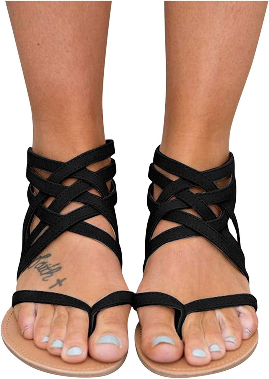 Xudanell Womens Sandals Open Toe Gladiator Slip On Slides Sunflower Strappy Casual Summer Dressy Ladies Sandals for Women