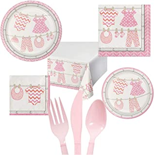 Baby Girl Shower Party Pack Decoration Plates Napkins Table Cover Set Serves 16 – Luncheon & Dessert Paper Plates, Napkins, Table Cover, Cutlery – Disposable Party Supplies for Food and Cake