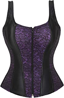 Women Sexy Boned Lace up Corsets and Strap Bustiers Top Overbust Shaper