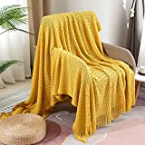 Blanket, Furnina Acrylic Throw Blanket, Knitted Blanket with Tassels, Sofa Chair Bed Travel Light Cushion Blanket, Suitable for Men and Women, Yellow, 50'x60'