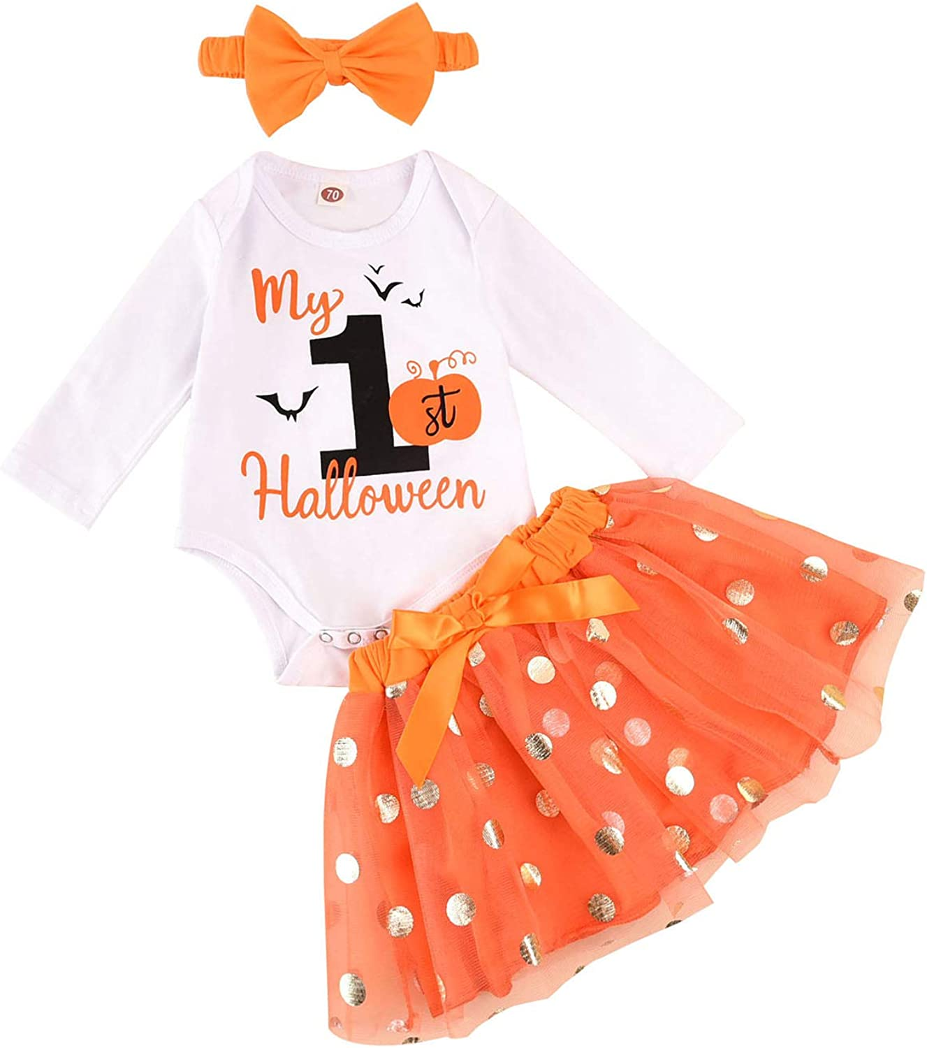 My First Halloween Baby Girl Outfit 3PCS Pumpkin Bodysuit + Tulle Skirt + Bow Headband Clothes Set