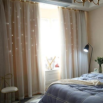 Tende Doppie Garze Stelle Tende Traforate Camera Da Letto Moderna Stile Nordico Tende Decorative Romantiche Per Finestre Amazon It Casa E Cucina