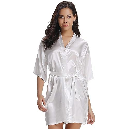 Vlazom Women Kimono Robes Satin Dressing Gown Short Silk Bridal Bridesmaid  Party Robe Nightwear with 697001cda