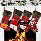 Aitey Christmas Stocking, 18' Plaid Large Stockings Set of 4 Xmas Character Santa, Snowman, Reindeer, Snowflake Plush Family Stocking for Christmas Decorations for Boys Girls Baby (Plaid)