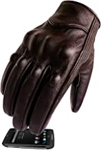 Full Finger Leather Motorcycle Gloves Touchscreen Goat Skin Brown Motorbike Riding Gloves (L, Brown,Non-Perforated)