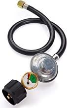 SHIENSTAR 2FT Propane Regulator Hose with Propane Tank Gauge, LP Gas Regulator Most for LP Grill, Fire Pit, Heater and Propane Appliances, 3/8 Female Flare Fitting, CSA Certified