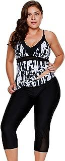 Women's Plus Size Rash Guard Capris Tankini Athletic Swimwear