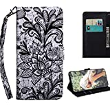 JZ [3D Pattern[Magnetic Clasp][Cards & Cash Slot] TPU Inner Bumper Flip Cover For para Lenovo C2 K10A40 Wallet Funda - Lace