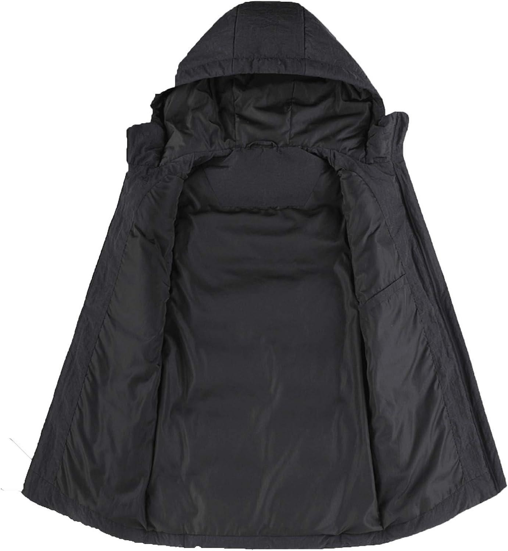 Snhpk Men's Down Vest Outerwear Gilets Coat Softshell Jacket, Hooded Winter Thicken Warm Windproof Overcoat Waistcoat,Black1,XL