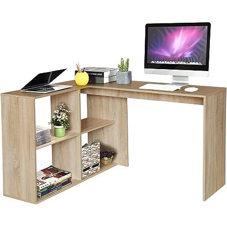 MEUBLE COSY Bureau d'Angle avec 4 étagères Table Informatique en Forme de L. Bureau à Domicile