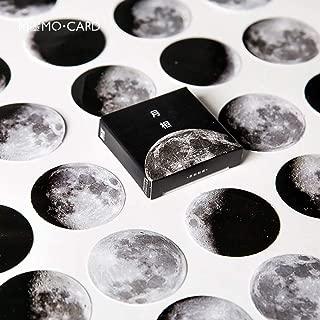 Mini Size Scrapbooks Stickers Decals, Doraking DIY Decoration Super Cool Moon Stickers for Laptop Scrapbook Suitcase Notebooks Album, Dimension Less 1.73'', Including Repeat (Moon Phase, 45pcs/box)