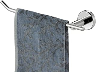 JQK Chrome Hand Towel Bar, Stainless Steel Towel Ring for Bathroom, 9 Inch Necklace Holder Matte Black Wall Mount Left Hand, TR101-CH