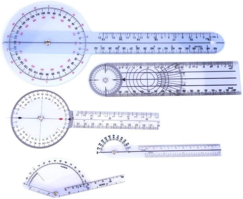 Fafeicy 5 piezas Regla médica de ángulo, 6/8/10 pulgadas Regla de ángulo, médico de transportador de 360 grados Goniómetro espinal(Set 1)