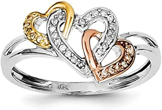 Sterling Silver Polished Rhodium-plated and 14k Yellow Rose Gold Diamonds Three Heart Ring - Ring Size Options Range: L to P