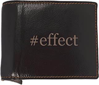 #effect - Soft Hashtag Cowhide Genuine Engraved Bifold Leather Wallet