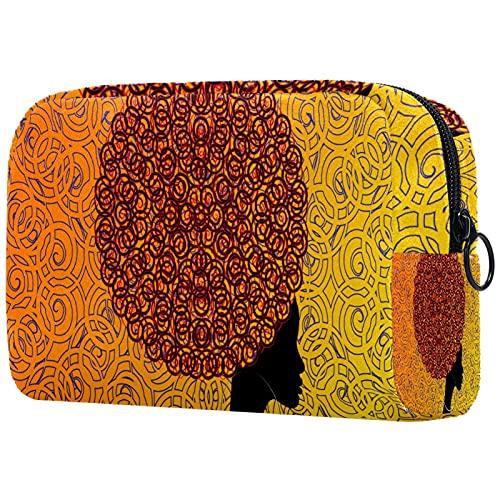 Bolsa de Maquillaje Bolsas de cosméticos de Viaje portátiles, Pendientes Afro de Pelo de Mujer Africana