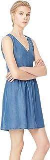 Mango Pleated Dress for Women - Blue, Size L