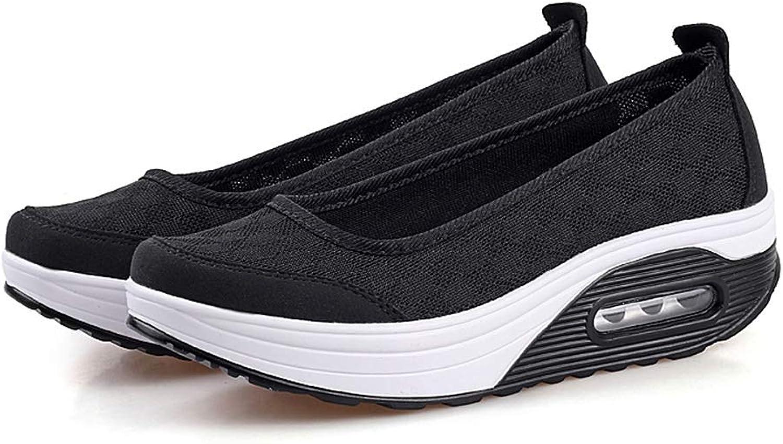 Ghapwe Women Platform Light Breathable Mesh shoes Female Baskets Luxury Wedge Sneakers Leg Length Leg Length Girl Elegant Reasing Fashion Rubber Sole Girl Pink 6.5 M US shoes