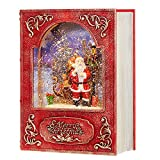 RAZ Imports 8.5 ' Santa and Sleigh Lighted Water Book (Water Lantern) Lighted Christmas Snow Globe with Swirling Glitter