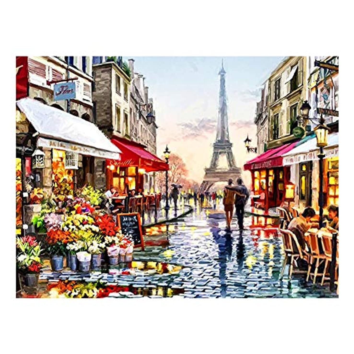BOSHUN 5D DIY Diamond Painting by Number Kits for Adults, Full Drill Cross Stitch Arts Craft for Home Wall Decor- Romantic Paris Street(11.8X15.7inch/30X40cm)