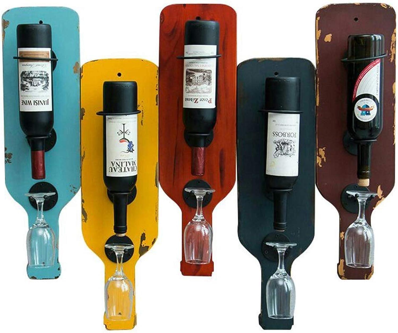 BAIJJ Estante para vinos Estante de Madera Maciza de Hierro Forjado Montado en la Parojo Soporte para exhibición de vinos Creativo Retro Soporte para Vaños Altos (Color  A)