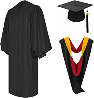 Unisex Deluxe Black Bachelor Graduation Gown Cap with Hood, Adult