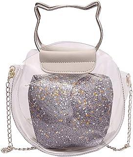 TOOGOO Fashion Handbag Transparent Bag Small Cute Shape Handbag Messenger Bag Holographic Shoulder Bag Ladies Brown