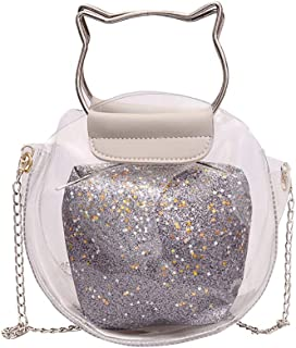 TOOGOO Fashion Handbag Transparent Bag Small Cute Shape Handbag Messenger Bag Holographic Shoulder Bag Ladies Brown