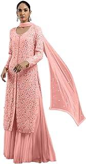 فستان إسلامي الهندي الخوخي باكستاني المسلمين بمرآة عمل الثقيلة جورجيت سلوار قميص مستقيم للنساء 6205