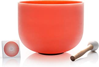 TOPFUND Perfect Pitch D Note Crystal Singing Bowl Sacral Chakra Orange Color 10 inch O-ring and Rubber Mallet Included