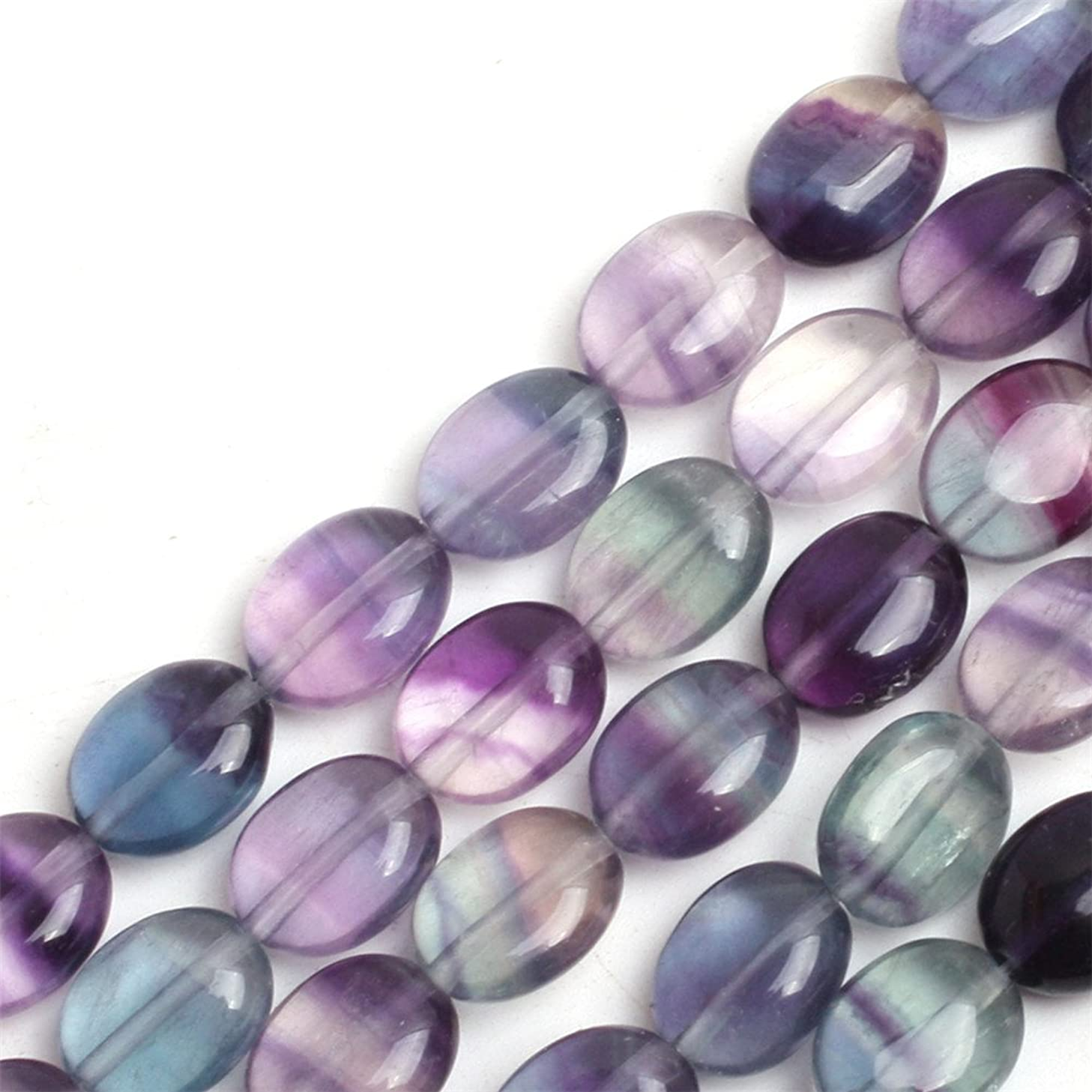 GEM-inside Fluorite Agate Gemstone Loose Beads Natural 8x10mm Smooth Crystal Energy Stone Power For Jewelry Making 15''