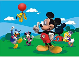 Happy Birthday Backdrop Photography 7x5ft Vinyl Photo Background Mickey Mouse Clubhouse Backdrop Green Amusement Park Backgrounds Baby Shower Wall Banner