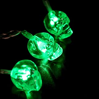 Shan-S 10 LED Halloween Skull String Light Outdoor Indoor Decoration Lamp Lighting String Battery Type for Halloween Christmas Masquerade Carnival Themed Party Holiday Decor 1.65M
