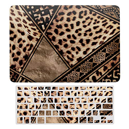 For MacBook Air 13 Case A1466、A1369, Plastic Hard Shell & Keyboard Cover Compatible with MacBook Air 13, Cheetah Fur With Ethnic Ornaments Laptop Protective Shell Set